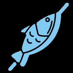 Ícone de peixe no espeto azul plana