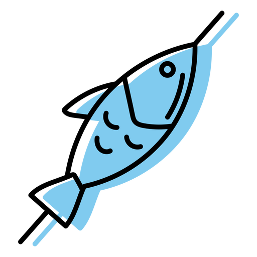 Blue skewered fish icon flat Transparent PNG