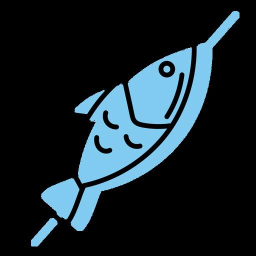 Icono de pescado pinchado azul plano Transparent PNG