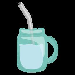 Caneca de palha azul plana