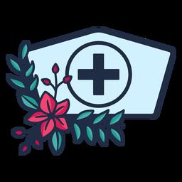 Símbolo de sombrero de enfermera florido rama