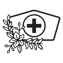 Branch flowery nurse hat symbol outline