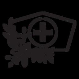 Zweig blumige Krankenschwester Hut Symbol Umriss