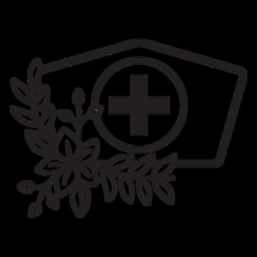 Branch flowery nurse hat symbol outline