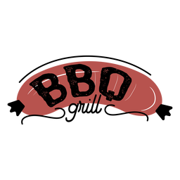 Brown bbq grill sausage lettering