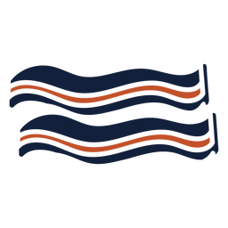 Brown blue duotone bacon icon flat
