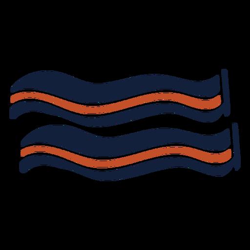 Icono de tocino duotono azul marrón plano