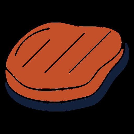Icono de losa de carne duotono azul marrón plano