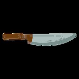 Símbolo plano de faca de corte marrom