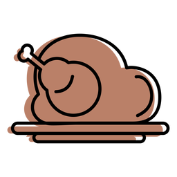Brown roast chicken turkey icon flat