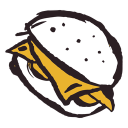 Brush stroke burger yellow icon