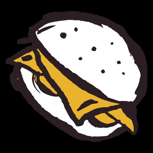 Icono de trazo de pincel hamburguesa amarillo