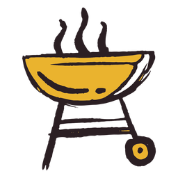 Pinselstrich Grill Symbol gelb
