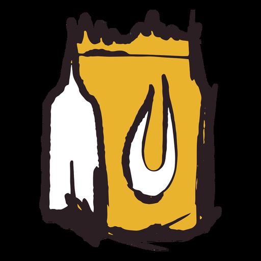Icono de bolsa de papel de trazo de pincel amarillo
