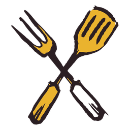 Brush stroke spatula fork yellow icon