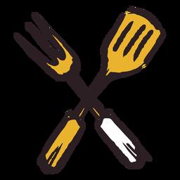 Icono de pincel tenedor espátula tenedor amarillo