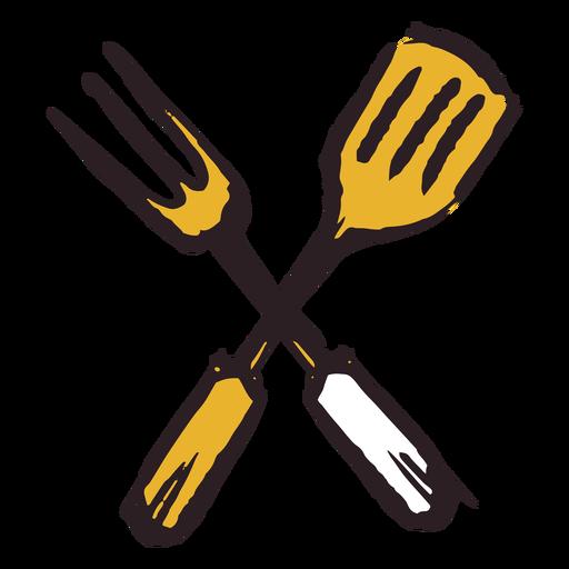 Brush stroke spatula fork yellow icon