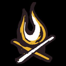 Trazo de pincel icono de fuego de leña amarillo