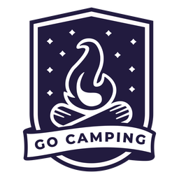 Campfire go camping shield badge