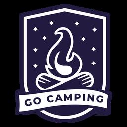 Lagerfeuer gehen Camping Schild Abzeichen
