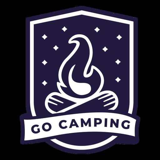 Campfire go camping shield badge