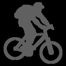 Silhueta de ciclista de mochila transportadora