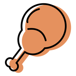 Chicken drum stick orange icon flat
