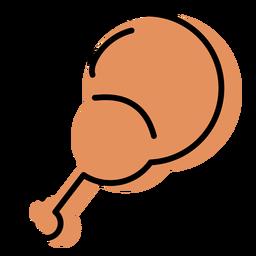 Tambor de pollo palo naranja icono plana