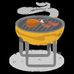 Muslo de pollo salchicha parrilla barbacoa