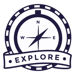 Compass explore camping round badge