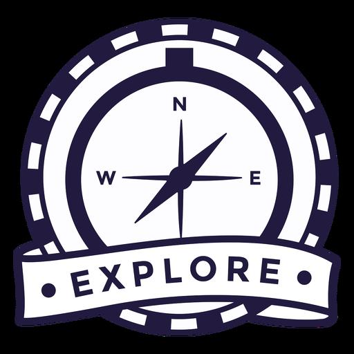 Brújula explorar insignia redonda de camping