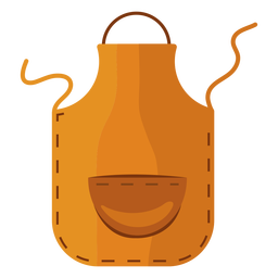 Delantal de cocina amarillo plano