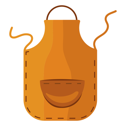 Cooking apron yellow flat Transparent PNG