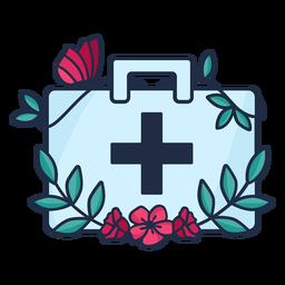 Médico, florido, medicina, saco, símbolo