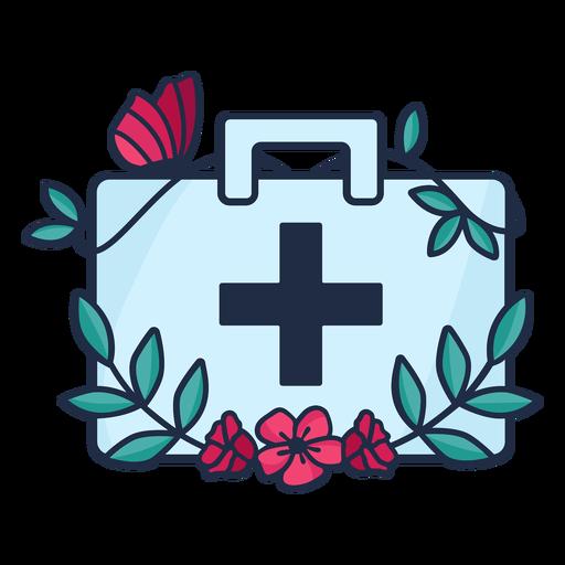 Doctor flowery medicine bag symbol