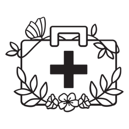 Doctor florido medicina bolsa símbolo contorno