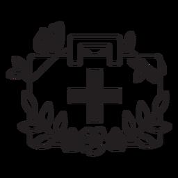 Doctor flowery medicine bag symbol outline