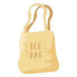 Eco bag beige shopping bag flat illustration