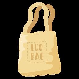 Ilustración plana de bolsa de compras beige de bolsa ecológica