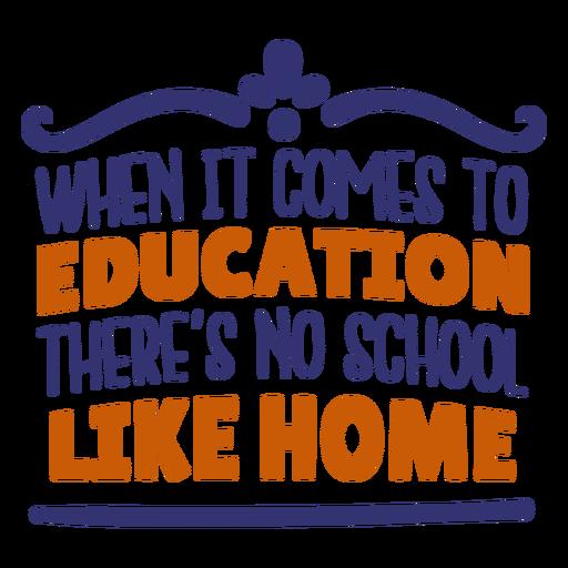 Education no school like home lettering
