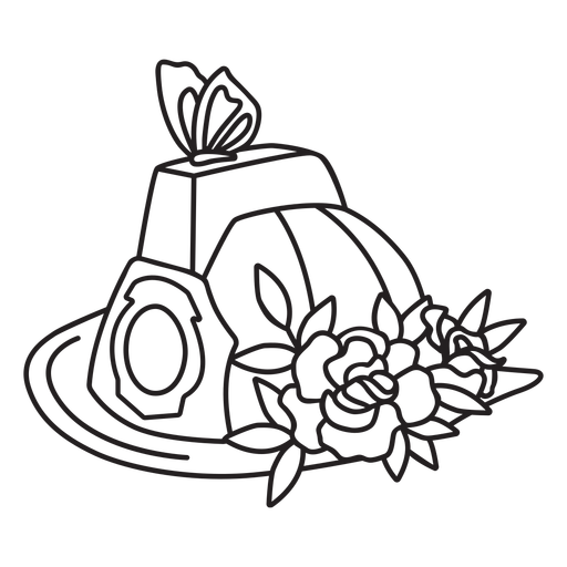 Firefighter butterfly flower hat outline Transparent PNG