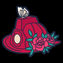 Bombeiro borboleta flor chapéu vermelho
