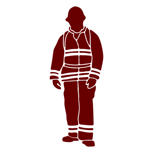 Firefighter front standing stencil Transparent PNG