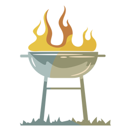 Flame grill yellow gray flat symbol