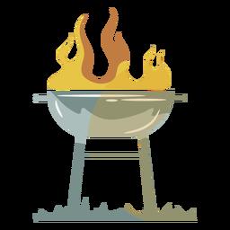 Parrilla de llama símbolo plano gris amarillo