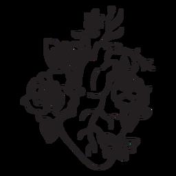 Esquema de símbolo de corazón de flor mariposa