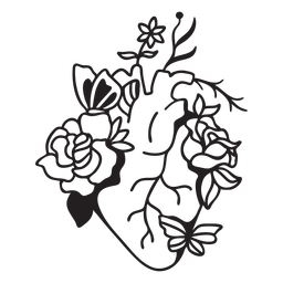 Esquema de símbolo de corazón de mariposa flor