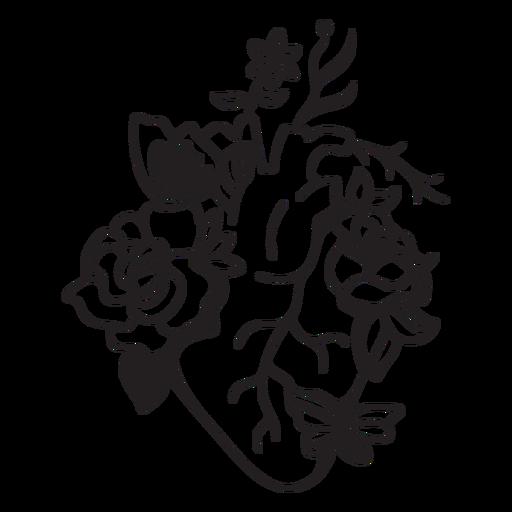 Flower butterfly heart symbol outline