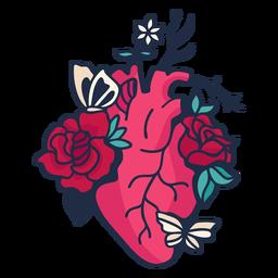 Flor borboleta coração símbolo vermelho