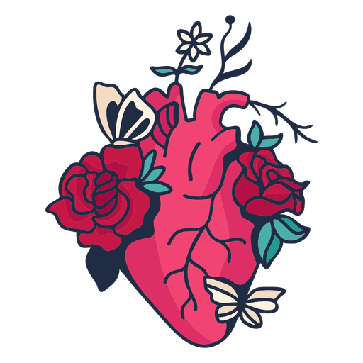 Flower butterfly heart symbol red Transparent PNG